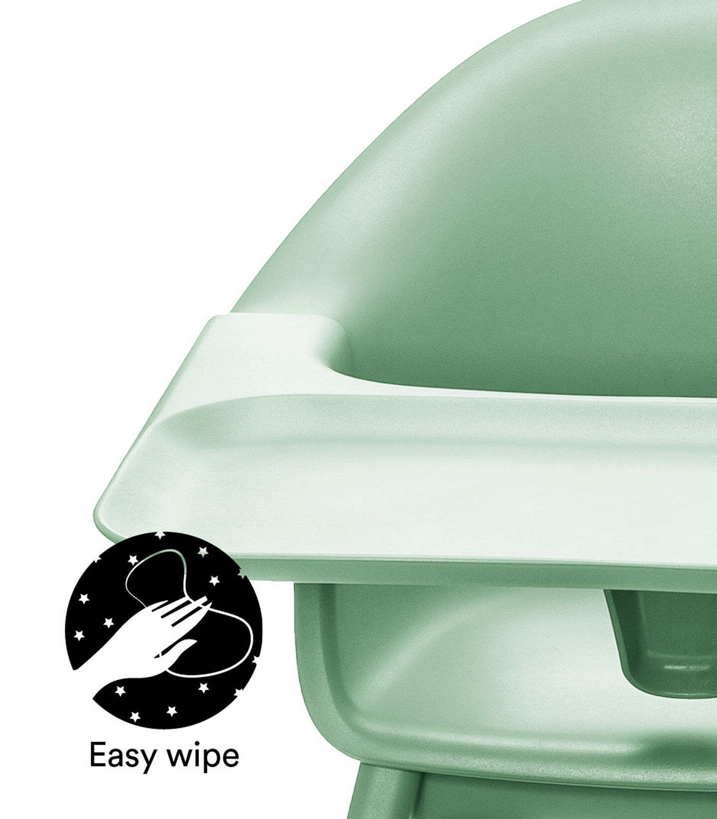 Stokke® Clikk™ High Chair. Natural Beech wood and Clover Green plastic parts including Tray.