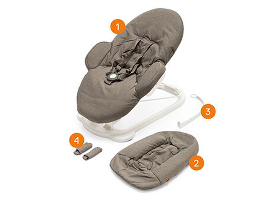 Stokke® Steps™ Bouncer White, , WhatsIncl view 1