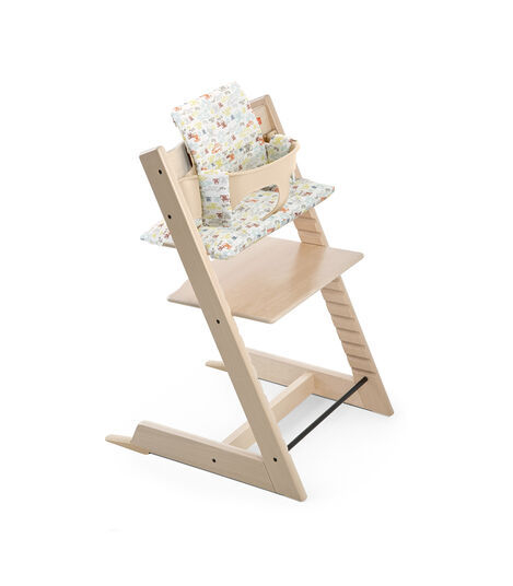 Tripp Trapp® Natural with Baby Set and Classic Baby Cushion Retro Cars.