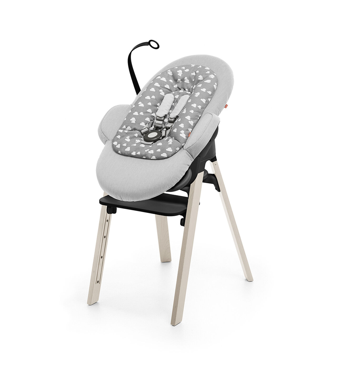 Stokke steps chair black seat whitewash legs for Chaise haute stokke
