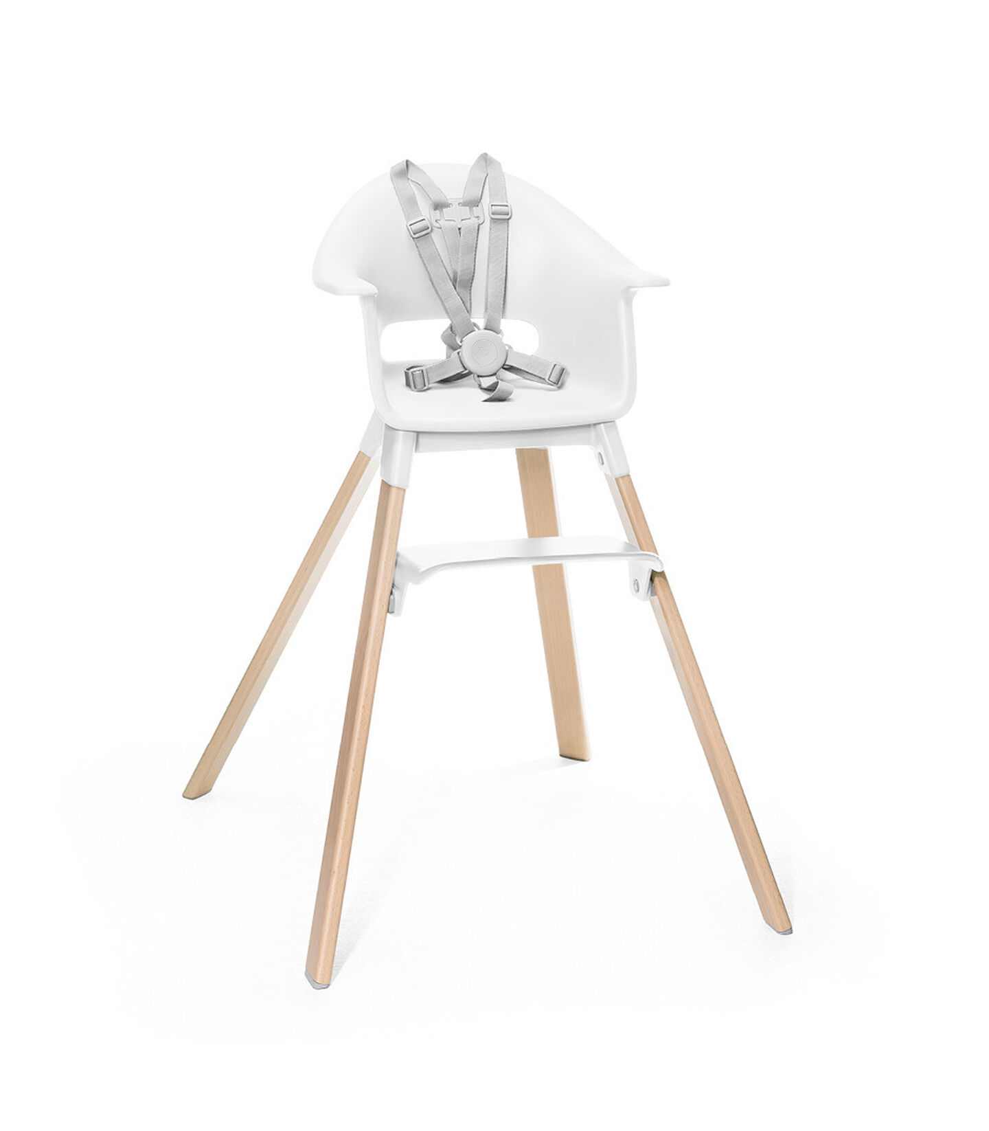 Stokke® Clikk™ High Chair. Natural Beech wood and White plastic parts. Stokke® Harness attached. Footrest low.