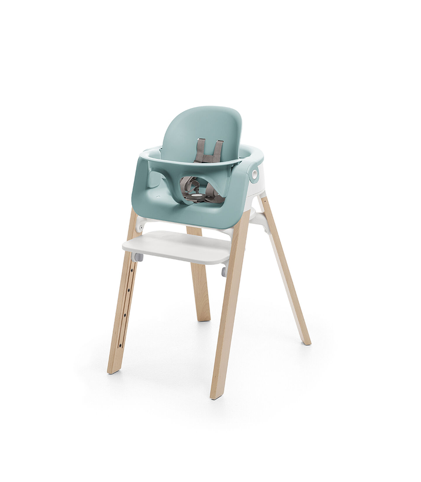 Stokke® Steps™ Chair Natural, with Baby Set Aqua Blue.