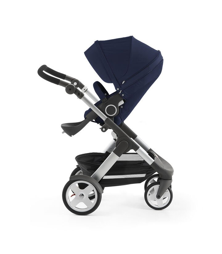 Stokke® Trailz™ with Stokke® Stroller Seat, Deep Blue. Classic Wheels. view 1