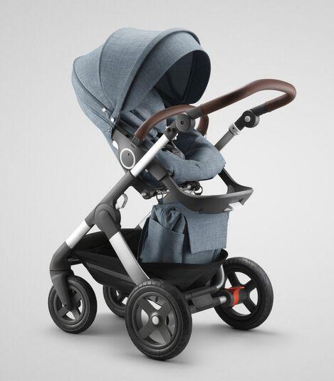 Stokke® Trailz™ Terrain  with Stokke® Stroller Seat and Shopping Bag, Nordic Blue.