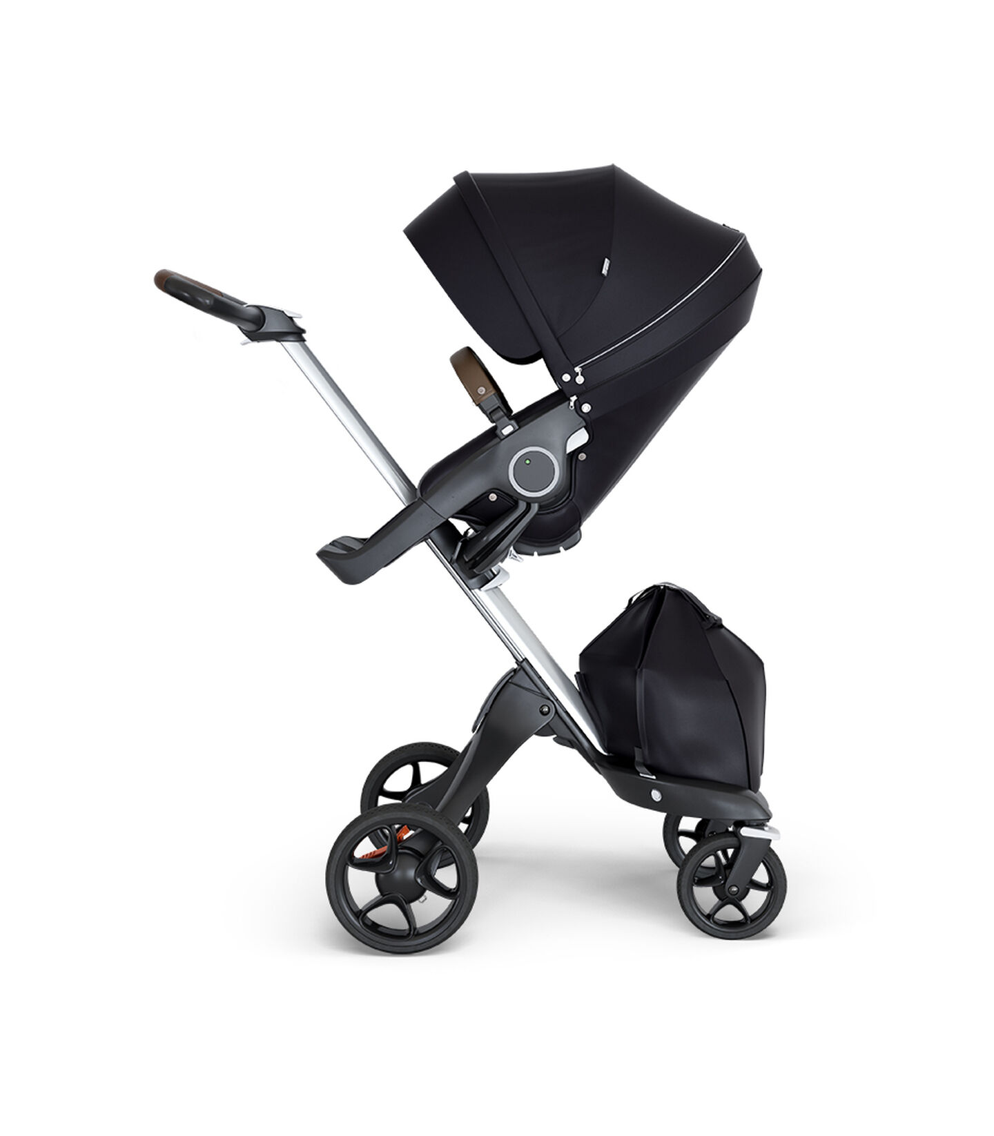 Stokke® Xplory® wtih Silver Chassis and Leatherette Brown handle. Stokke® Stroller Seat Black.