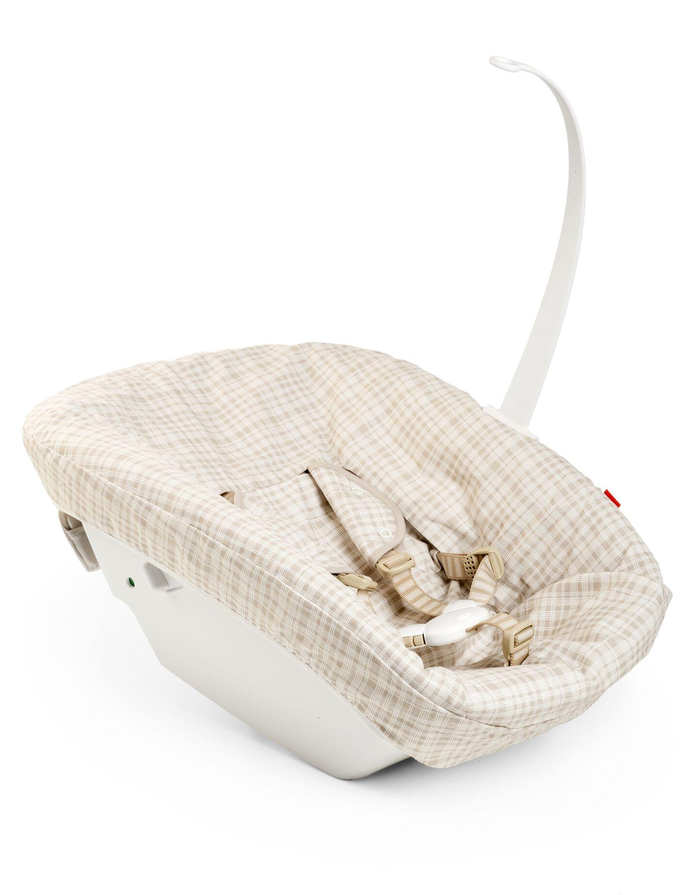 Tripp Trapp® Newborn Set with Beige Check textile.