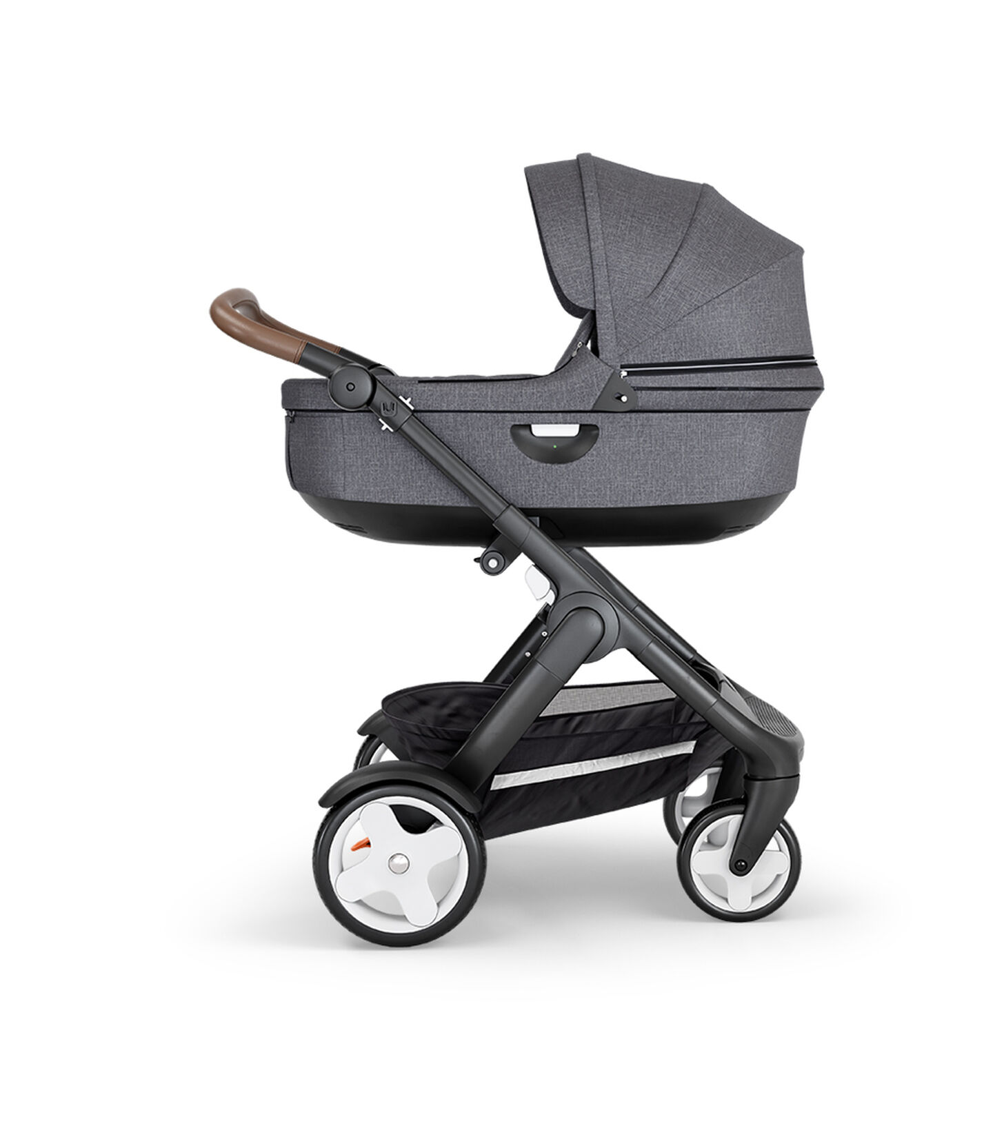 Stokke® Trailz™ with Black Chassis, Brown Leatherette and Classic Wheels. Stokke® Stroller Carry Cot, Black Melange.