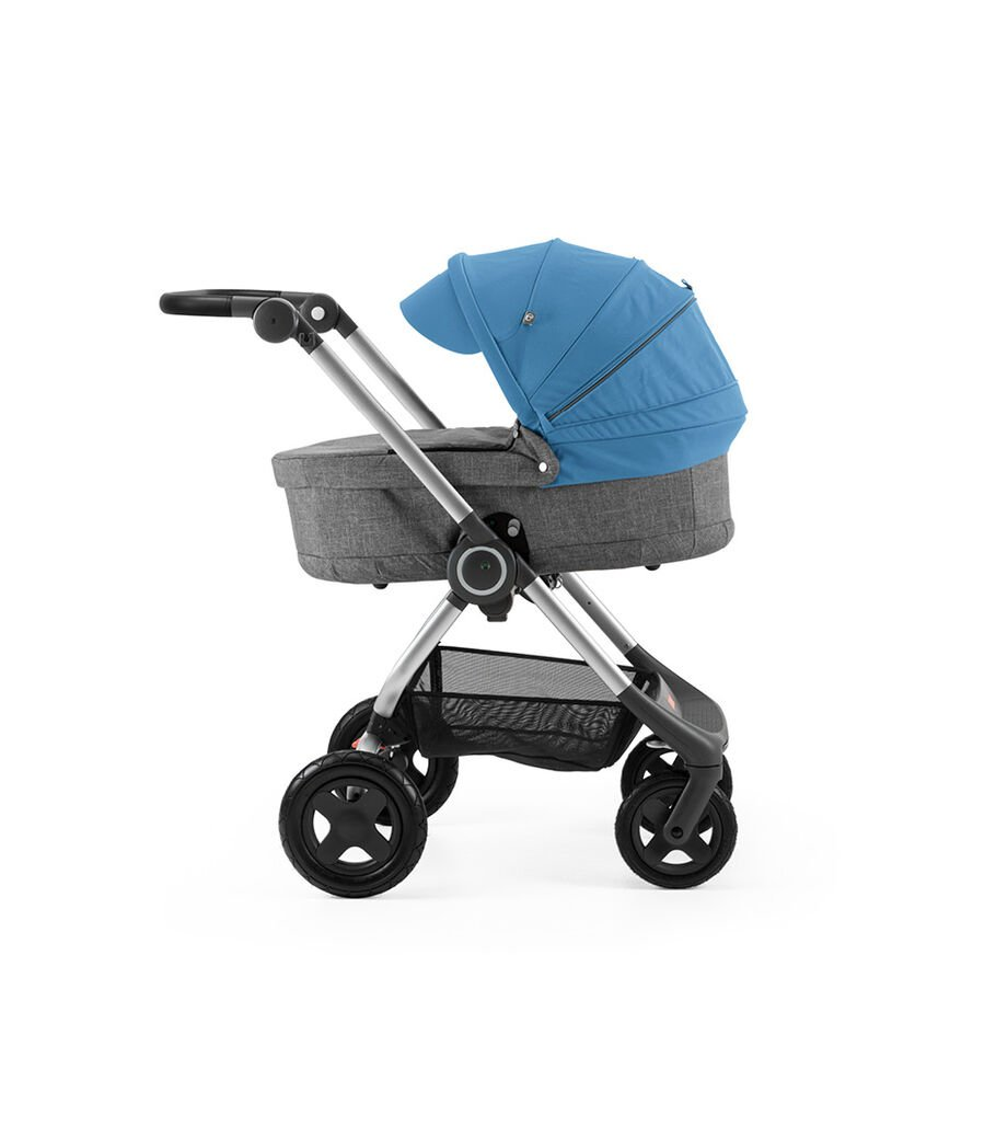 Stokke® Scoot™ with Carry Cot Black Melange and Blue Canopy. Leatherette handle.