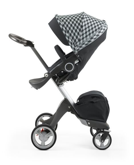 Stokke® Stroller Seat with Style Kit Grey Cube and Stokke® Xploy® chassis, Black.