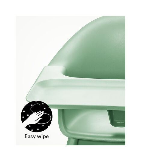 Stokke® Clikk™ High Chair. Natural Beech wood and Clover Green plastic parts including Tray. view 6