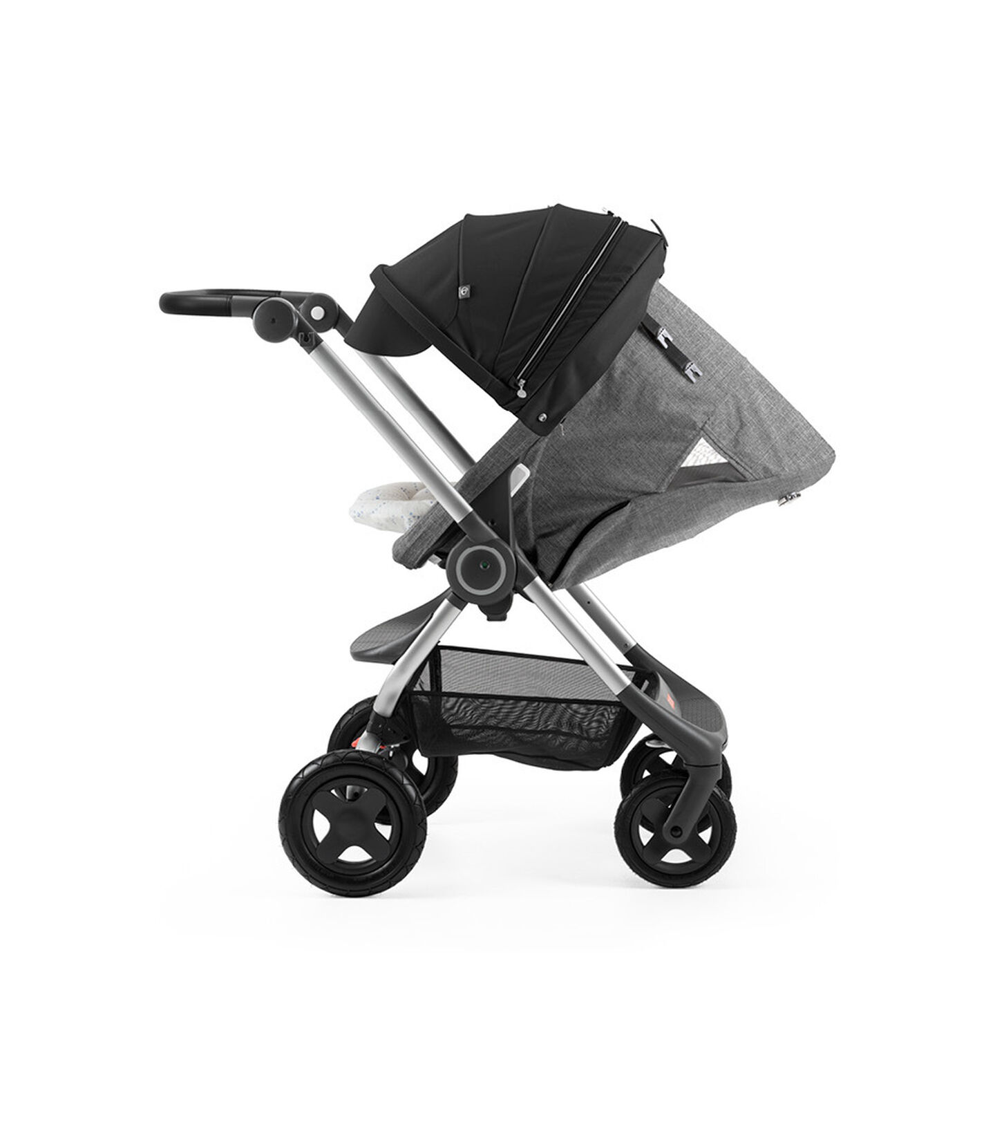 Stokke® Scoot™ with Black Melange seat and Black Canopy. Parent Facing. Sleep position.