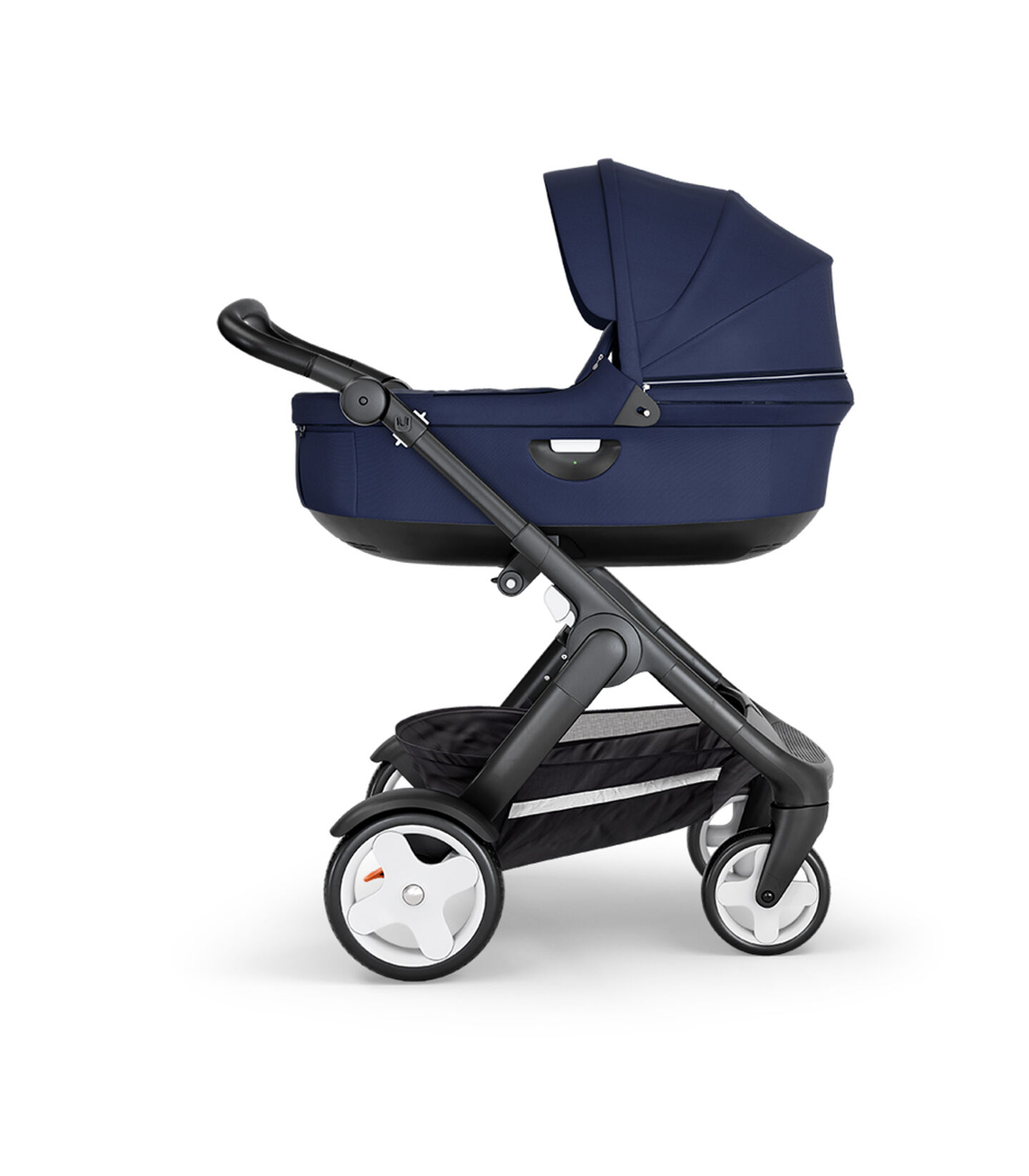 Stokke® Trailz™ with Black Chassis, Black Leatherette and Classic Wheels. Stokke® Stroller Carry Cot, Deep Blue.