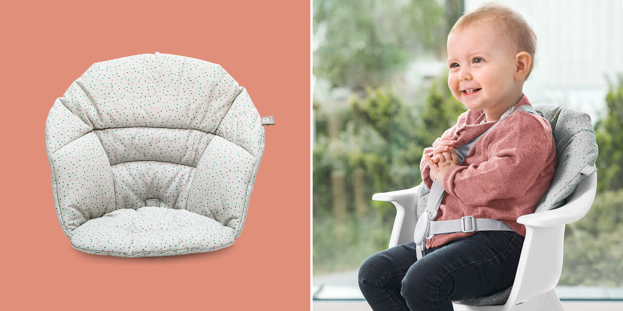 Stokke® Clikk™ Cushion Soft Grey Sprinkles, Grey Sprinkles, emotional1 view 1