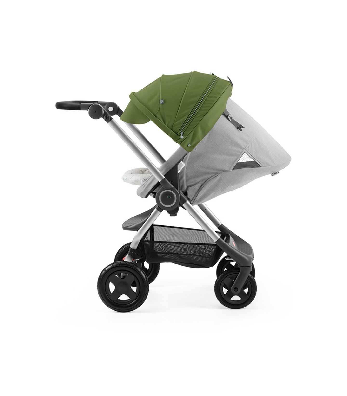 Stokke® Scoot™ with Grey Melange seat and Green Canopy. Parent Facing. Sleep position.
