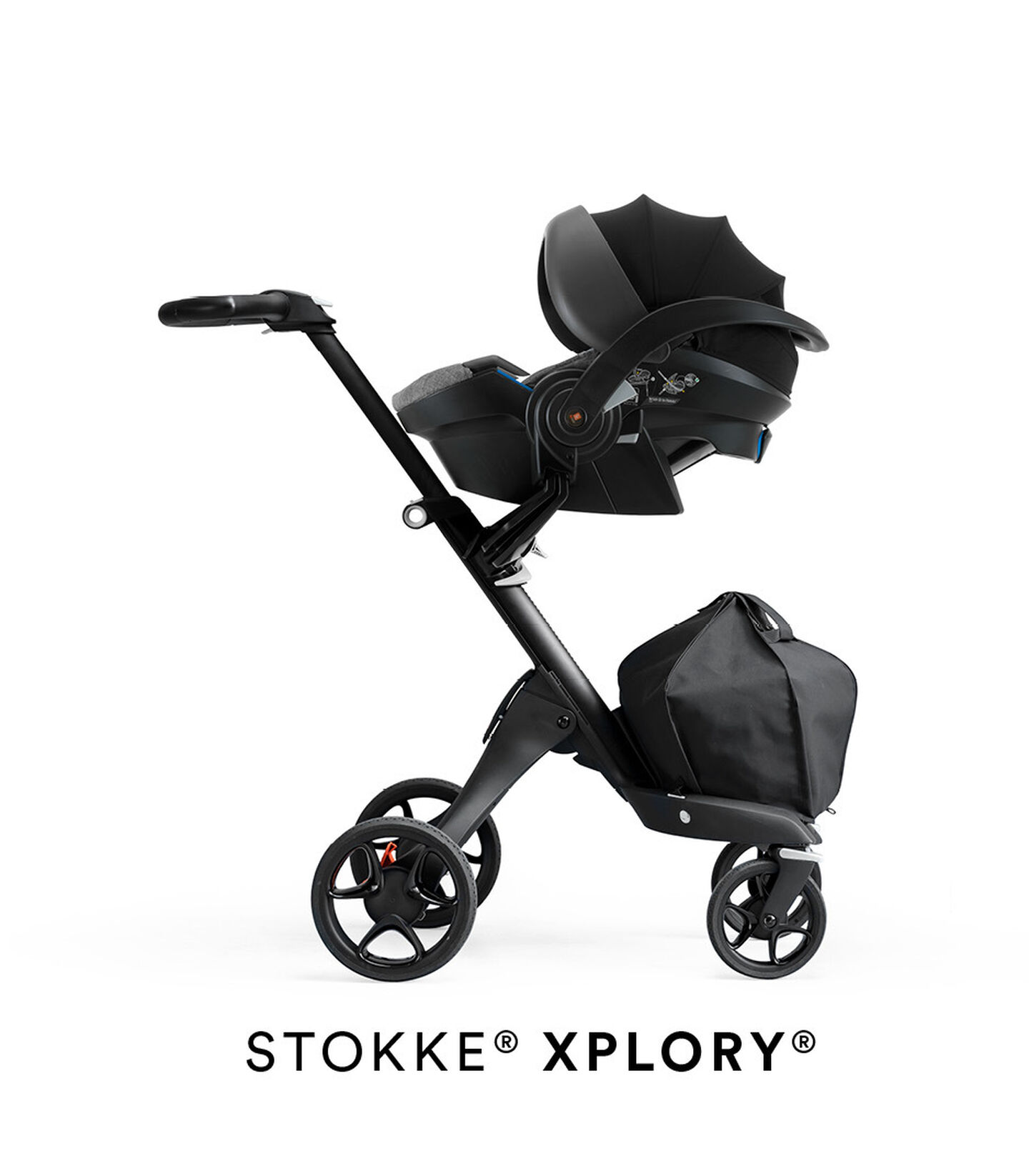 Stokke® iZi Go Modular™ X1 by Besafe®, Black Melange. Mounted on Stokke® Xplory®.
