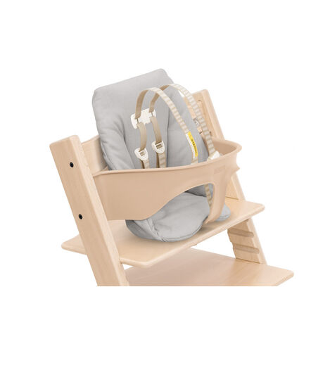 Tripp Trapp® chair Natural, Beech Wood, with Baby Set and Baby Cushion Timeless Grey. US version.