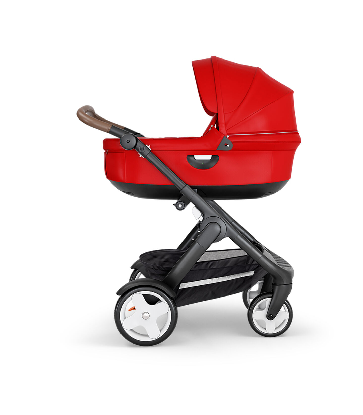 Stokke® Trailz™ with Black Chassis, Brown Leatherette and Classic Wheels. Stokke® Stroller Carry Cot, Red