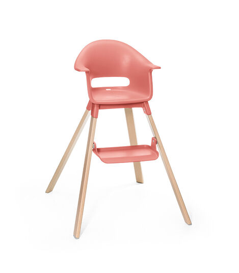 Stokke® Clikk™ High Chair. Natural Beech wood and Sunny Coral plastic parts.