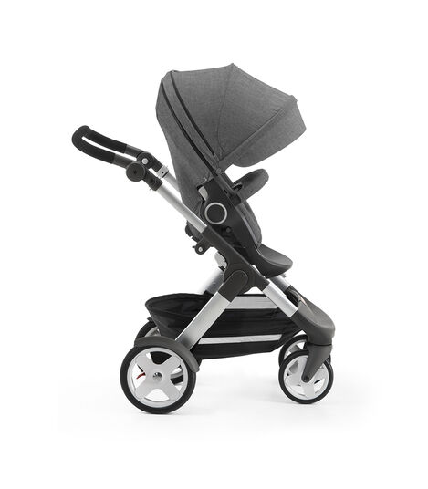 Stokke® Trailz with Stokke® Stroller Seat, forward facing, active position. Black Melange. view 6