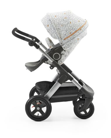 Stokke® Stroller Seat Style Kit Grid with Stokke® Trailz™ chassis, Black Melange.