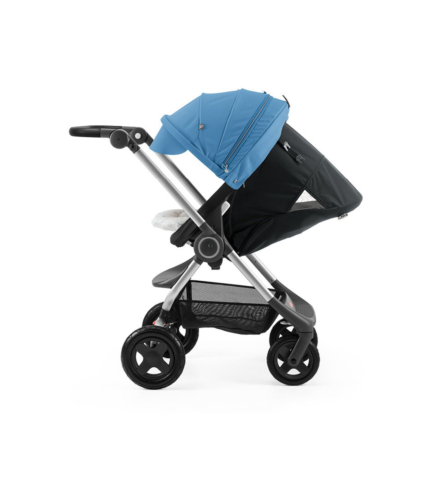 Stokke® Scoot™ with Black seat and Blue Canopy. Parent Facing. Sleep position.