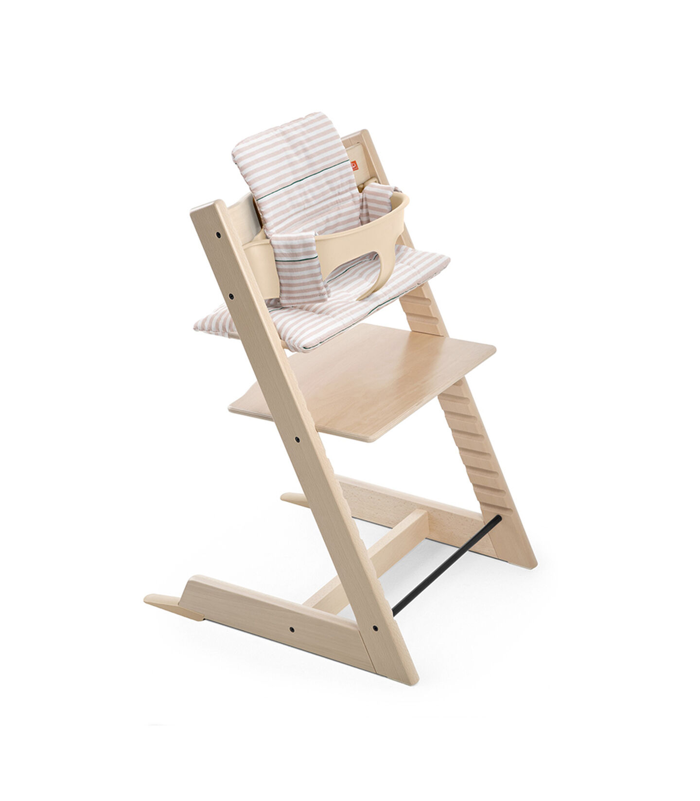 Tripp Trapp® Natural with Baby Set and CushionPink Stripes.
