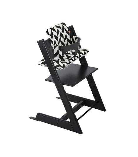Tripp Trapp® Black with Baby Set and Black Chevron Cushion.