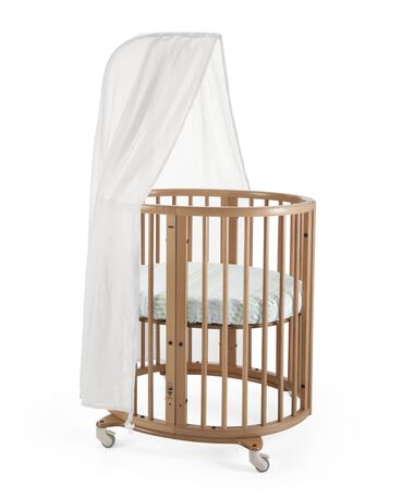 Stokke® Sleepi Mini, Natural. Canopy and Fitted Sheet Aqua Straw.