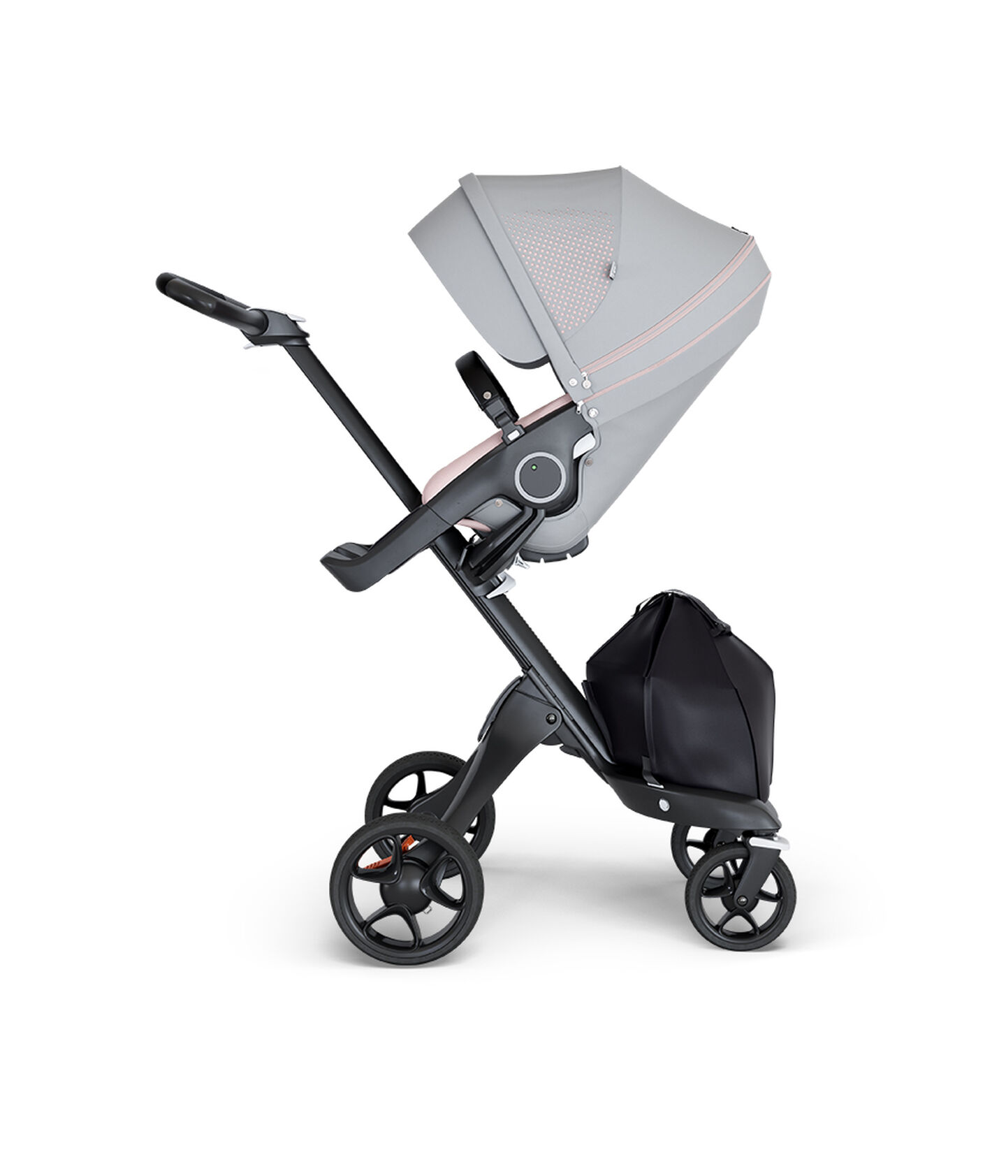 Stokke® Xplory® wtih Black Chassis and Leatherette Black handle. Stokke® Stroller Seat Athleisure Pink.