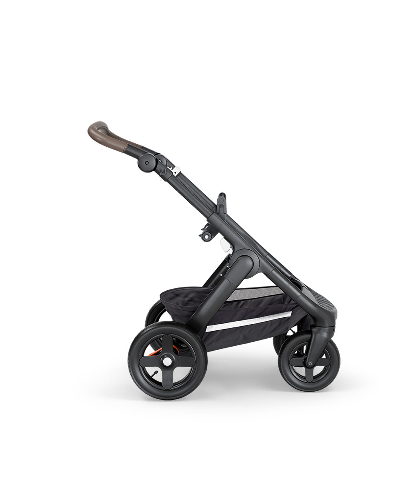 Stokke® Trailz™ with Black Chassis, Brown Leatherette and Terrain Wheels.