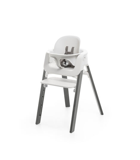 Stokke® Steps™ Chair White Seat Storm Grey Legs (stokke.com), Storm Grey, mainview view 3