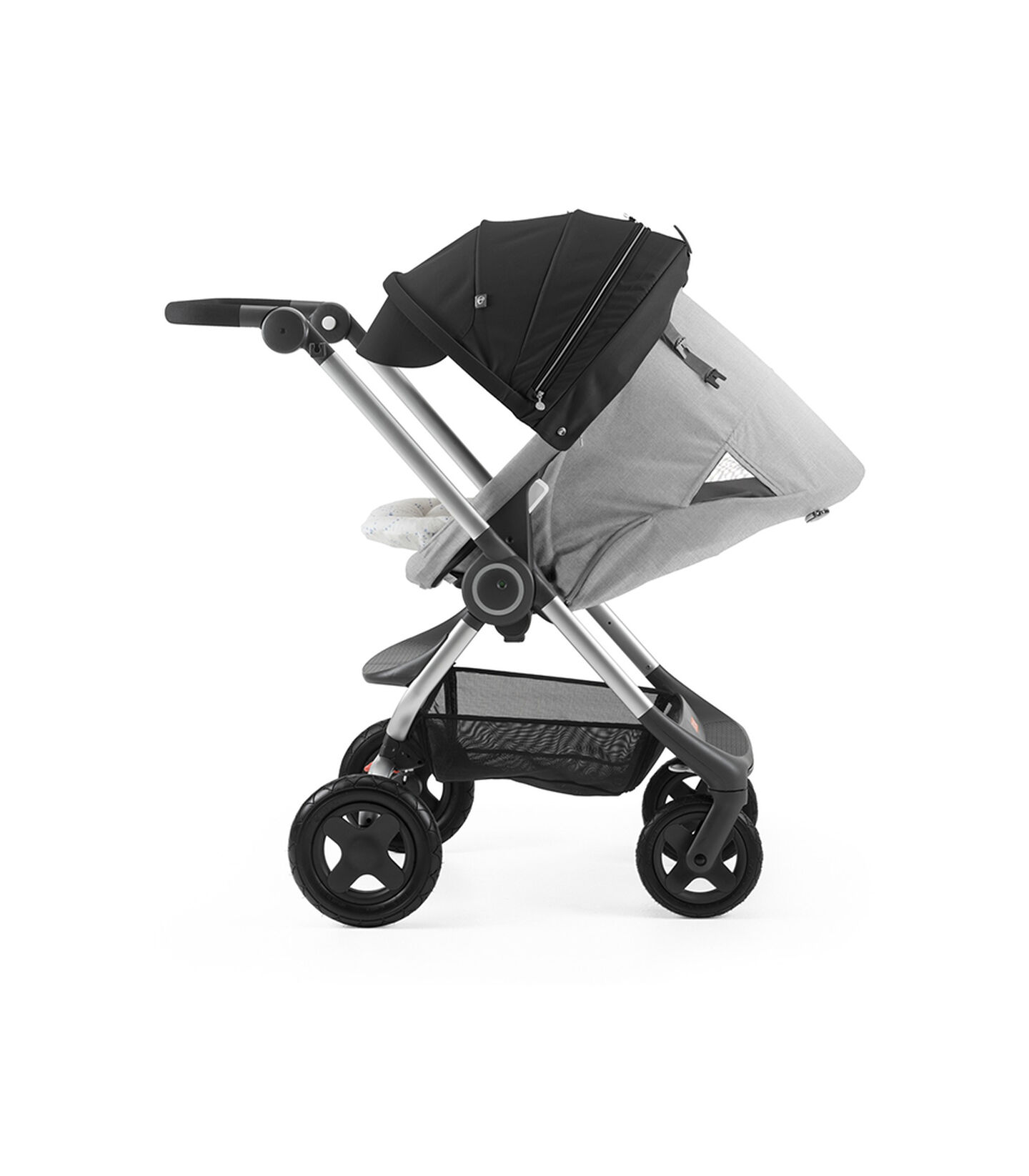 Stokke® Scoot™ with Grey Melange seat and Black Canopy. Parent Facing. Sleep position.