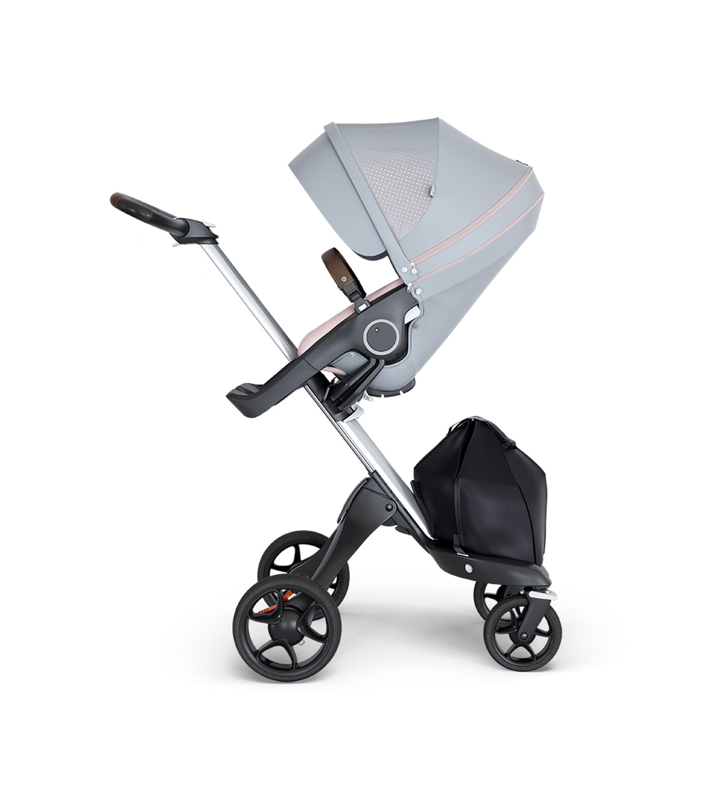 Stokke® Xplory® wtih Silver Chassis and Leatherette Brown handle. Stokke® Stroller Seat Athleisure Pink. view 1