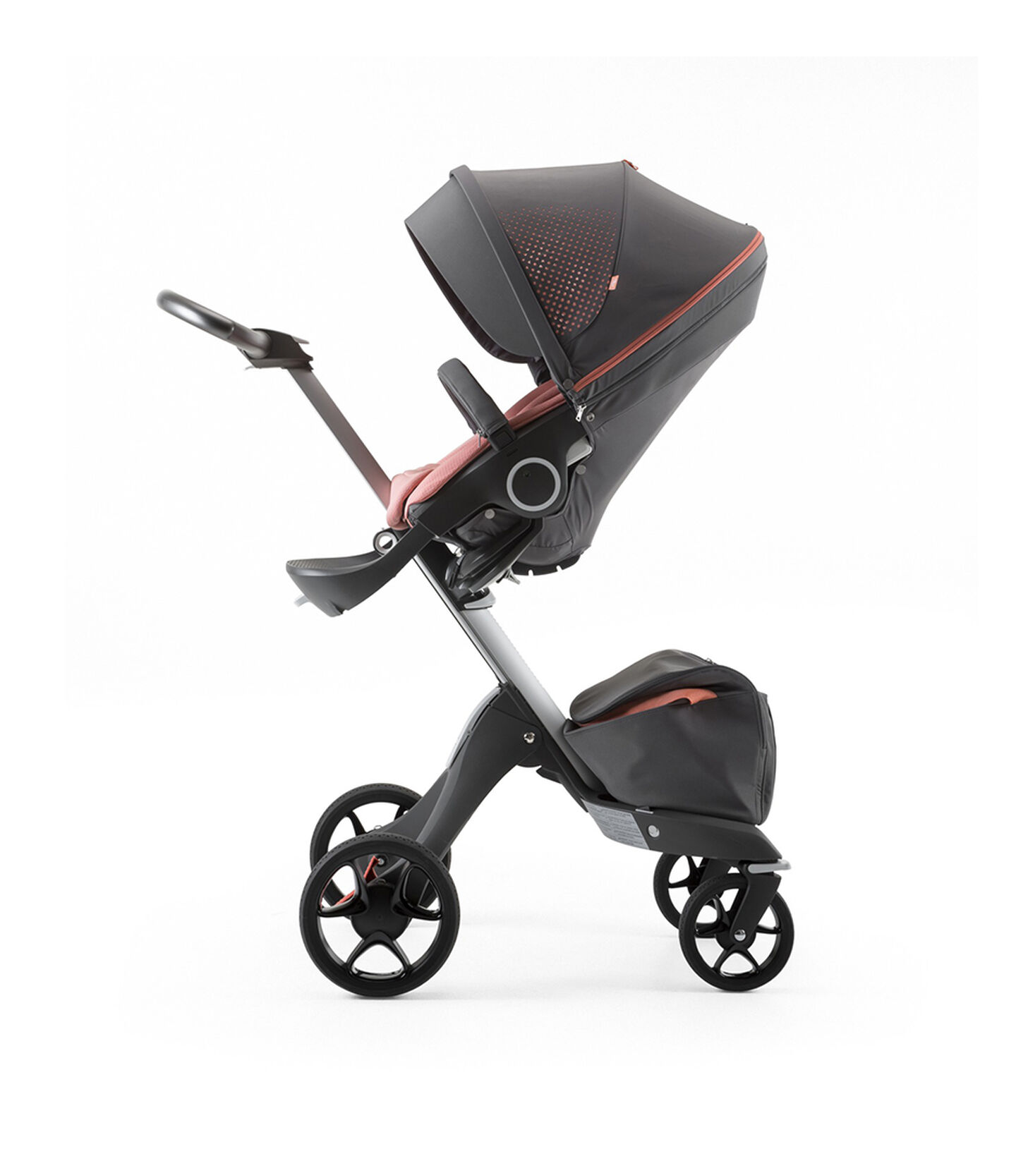 Stokke® Xplory® Silver Chassis and Seat. Athleisure Coral. view 1