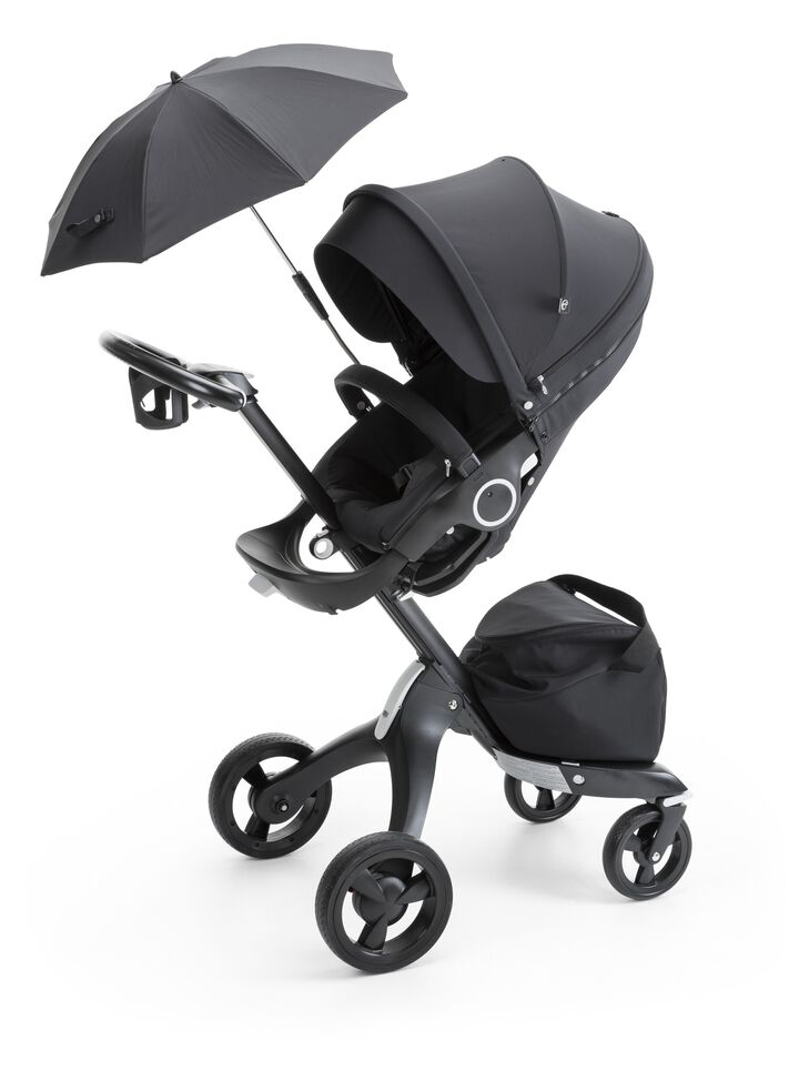 Stokke® Xplory® with Stokke® Stroller Seat and Parasol, True Black.