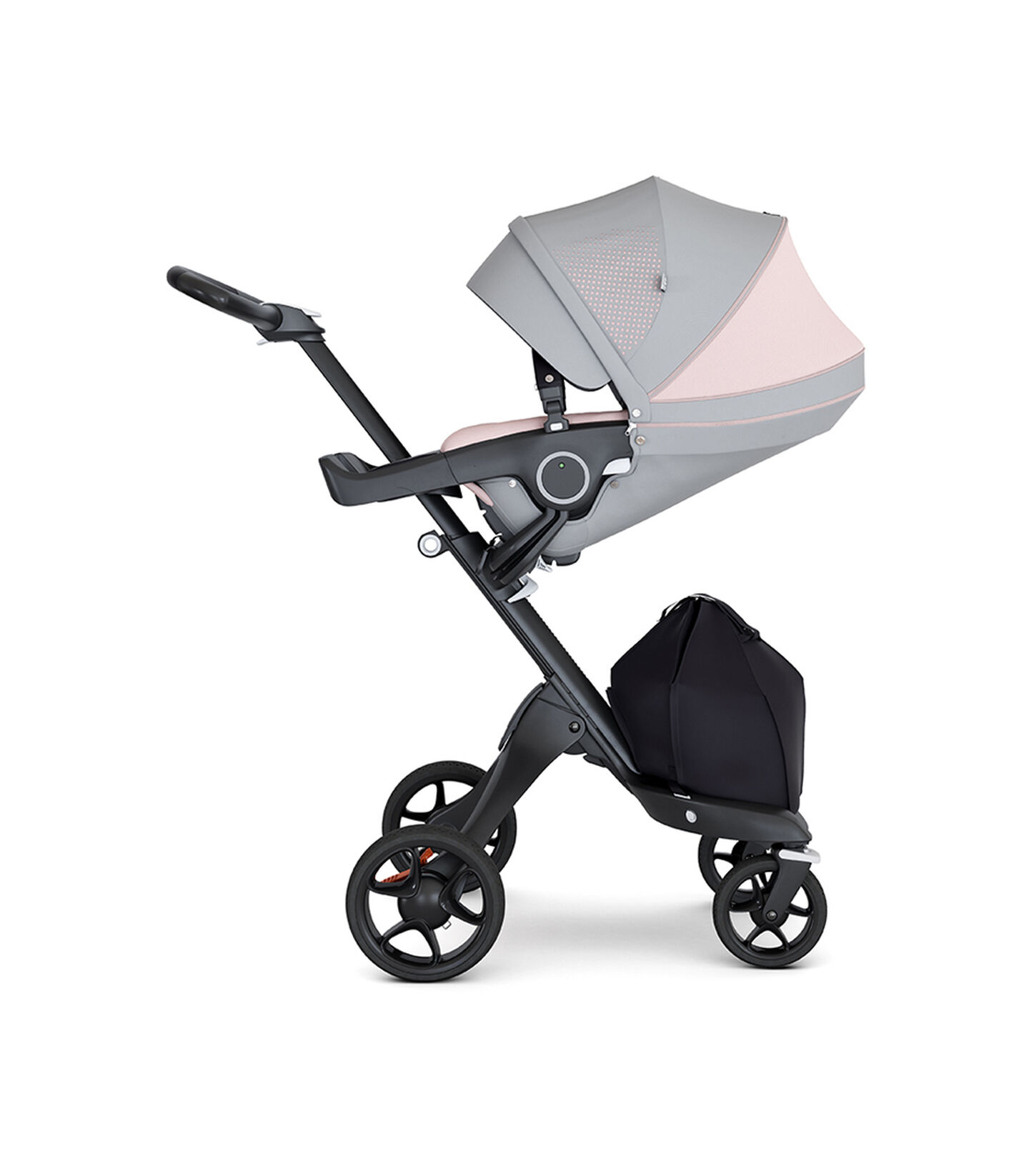 Stokke® Xplory® with Black Chassis and Leatherette Black handle. Stokke® Stroller Seat Athleisure Pink with extended canopy.