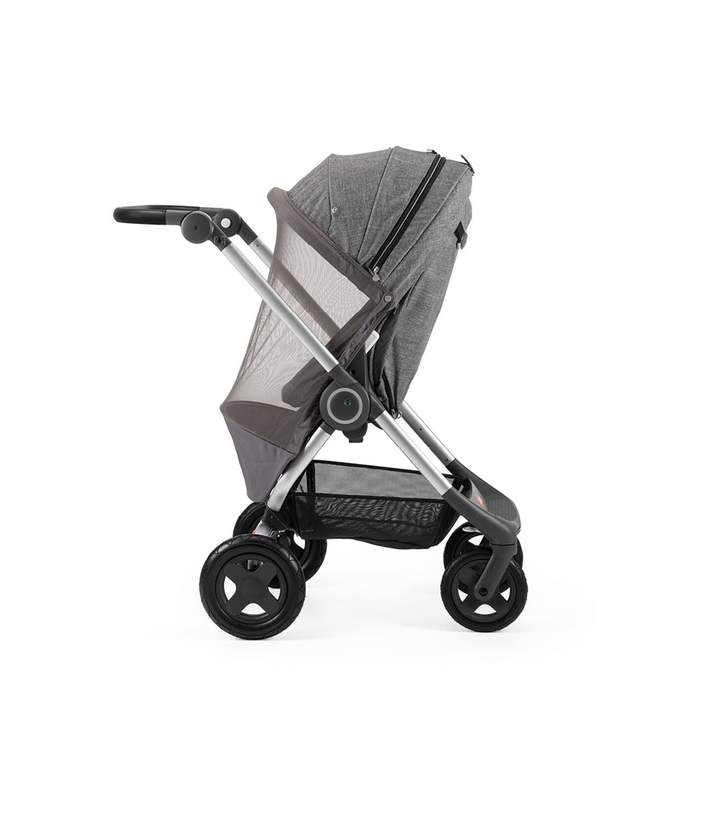 Stokke® Scoot™ Black Melange. Leatherette handle. Parent facing, active position. Mosquito net. view 2
