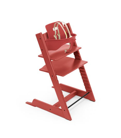 Tripp Trapp® chair Warm Red, Beech Wood, with Baby Set and Harness, US.
