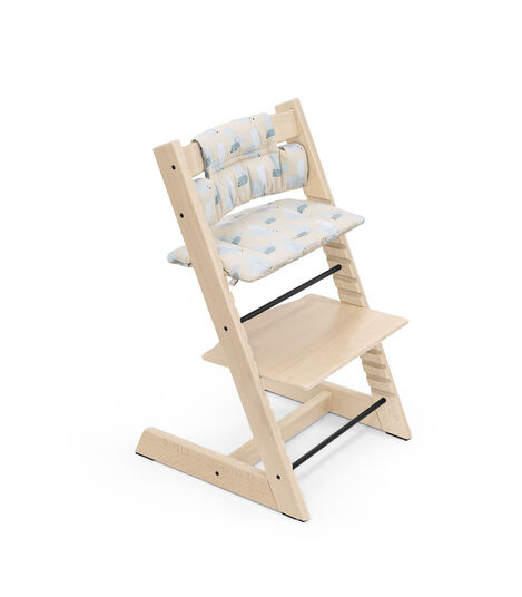 Tripp Trapp® Chair Natural with Classic Cushion Birds Blue. view 6