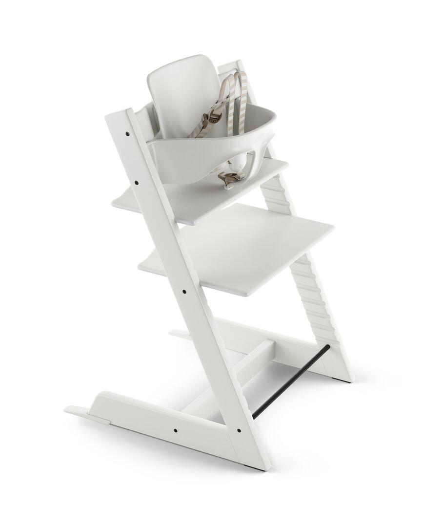 Tripp Trapp® White with Tripp Trapp® Baby Set, Plum Purple. US version. 3D rendering.