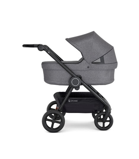 Stokke® Beat™ with Carry Cot, Black Melange. Extended Canopy.