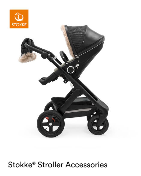 Stokke® Trailz™ Black Chassis with Stokke® Stroller Seat and Onyx Black Winter Kit. view 8