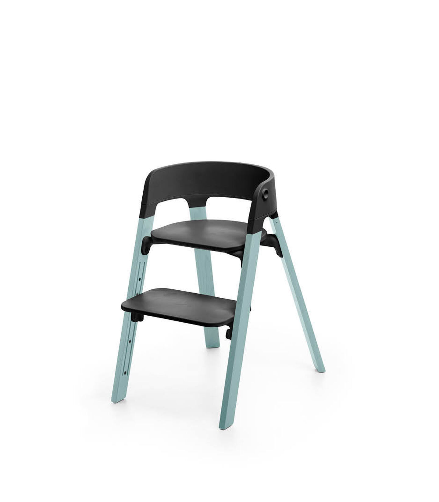 Stokke® Steps™ Aqua Blue with Black seat and footrest in high position.