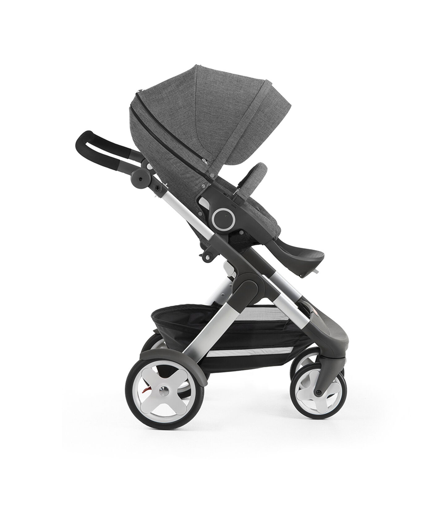 Stokke® Trailz with Stokke® Stroller Seat, forward facing, rest position. Black Melange.