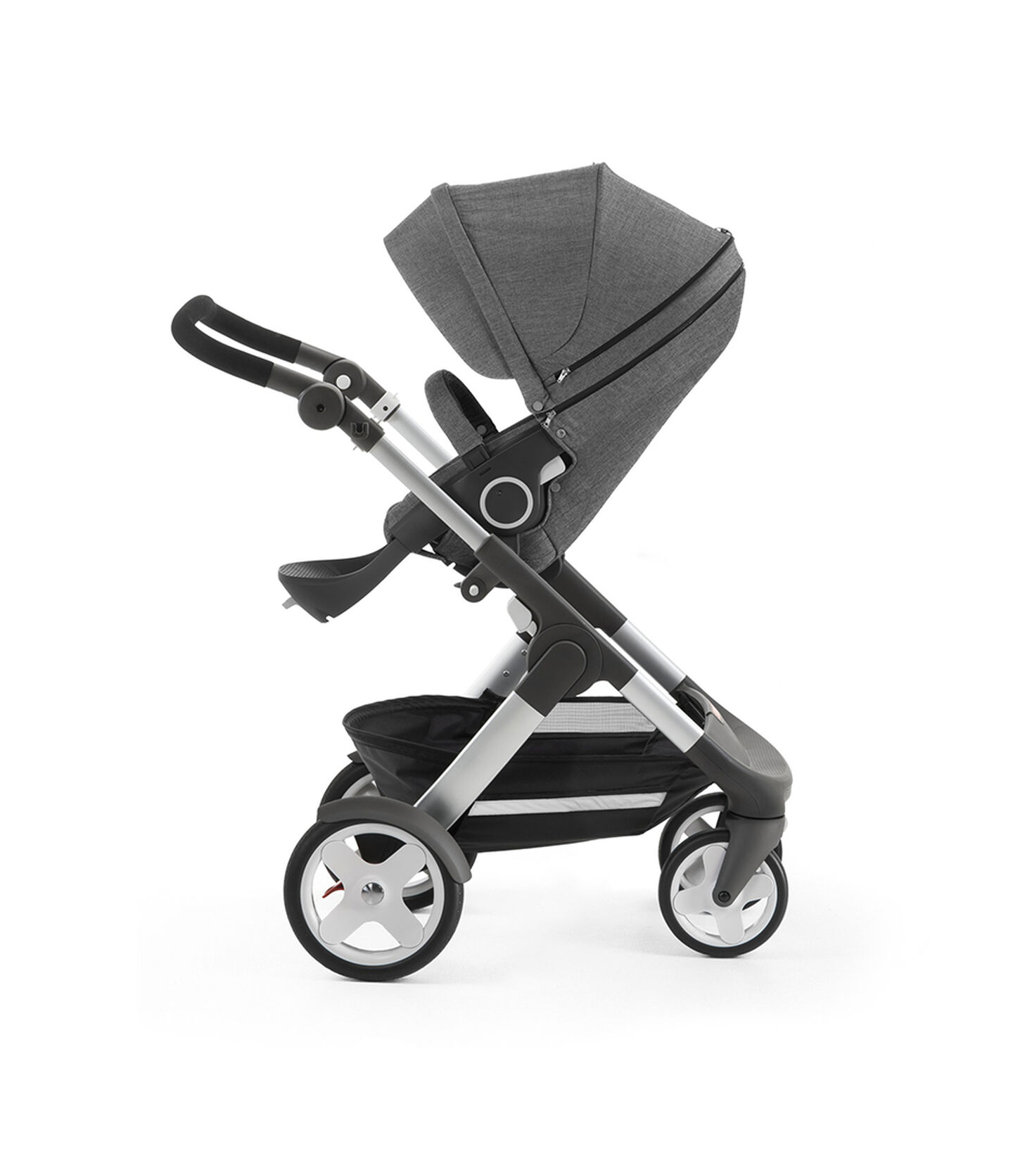 Stokke® Trailz™ with Stokke® Stroller Seat, Black Melange. Classic Wheels. view 1