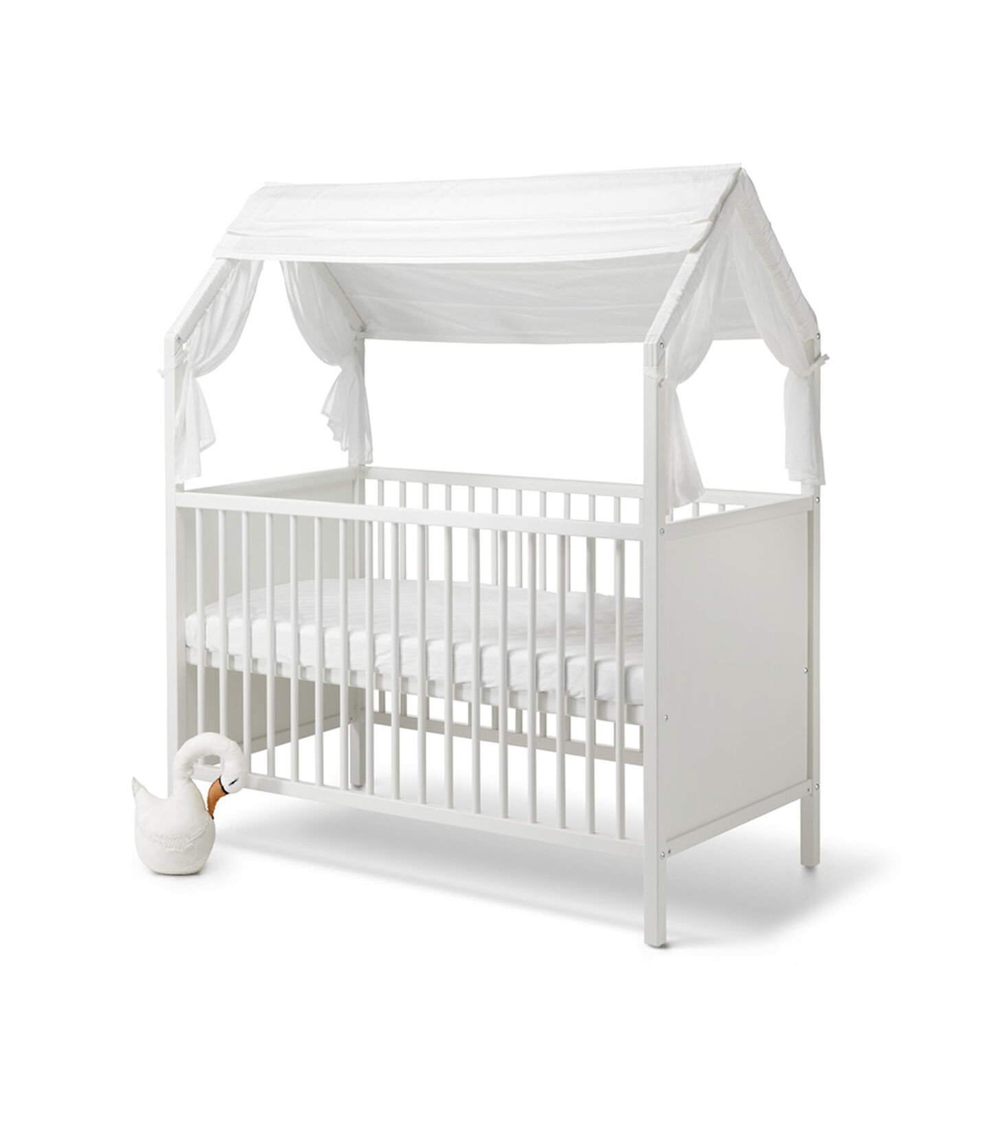Stokke® Home™ Bed with Stokke® Home™ Bed Roof textile, White.