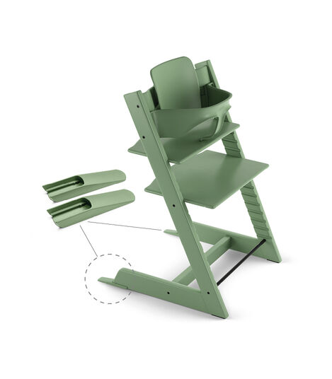 Tripp Trapp® Chair Moss Green, Beech, with Baby Set.