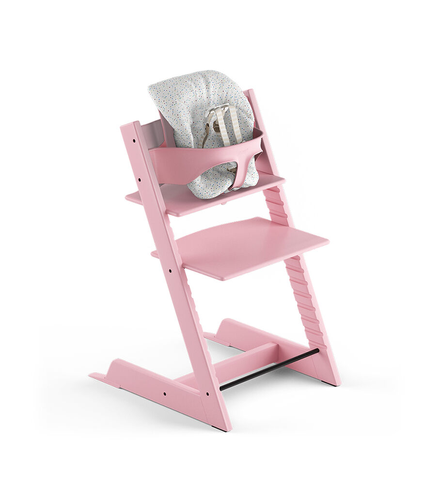 Tripp Trapp® Soft Pink, Beech. With Tripp Trapp® Baby Set and Baby Cushion Soft Sprinkle. US version with Harness.