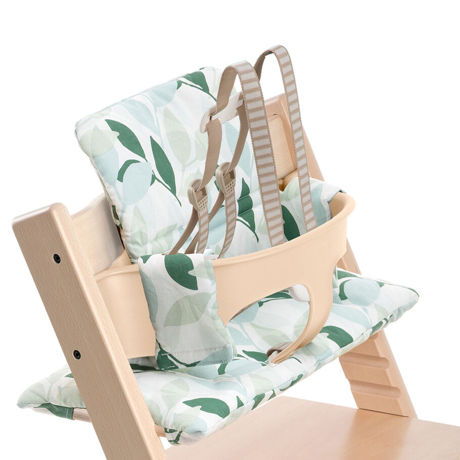 Tripp Trapp® Natural with Green Forest Classic Baby Cushion. Detail. US version.