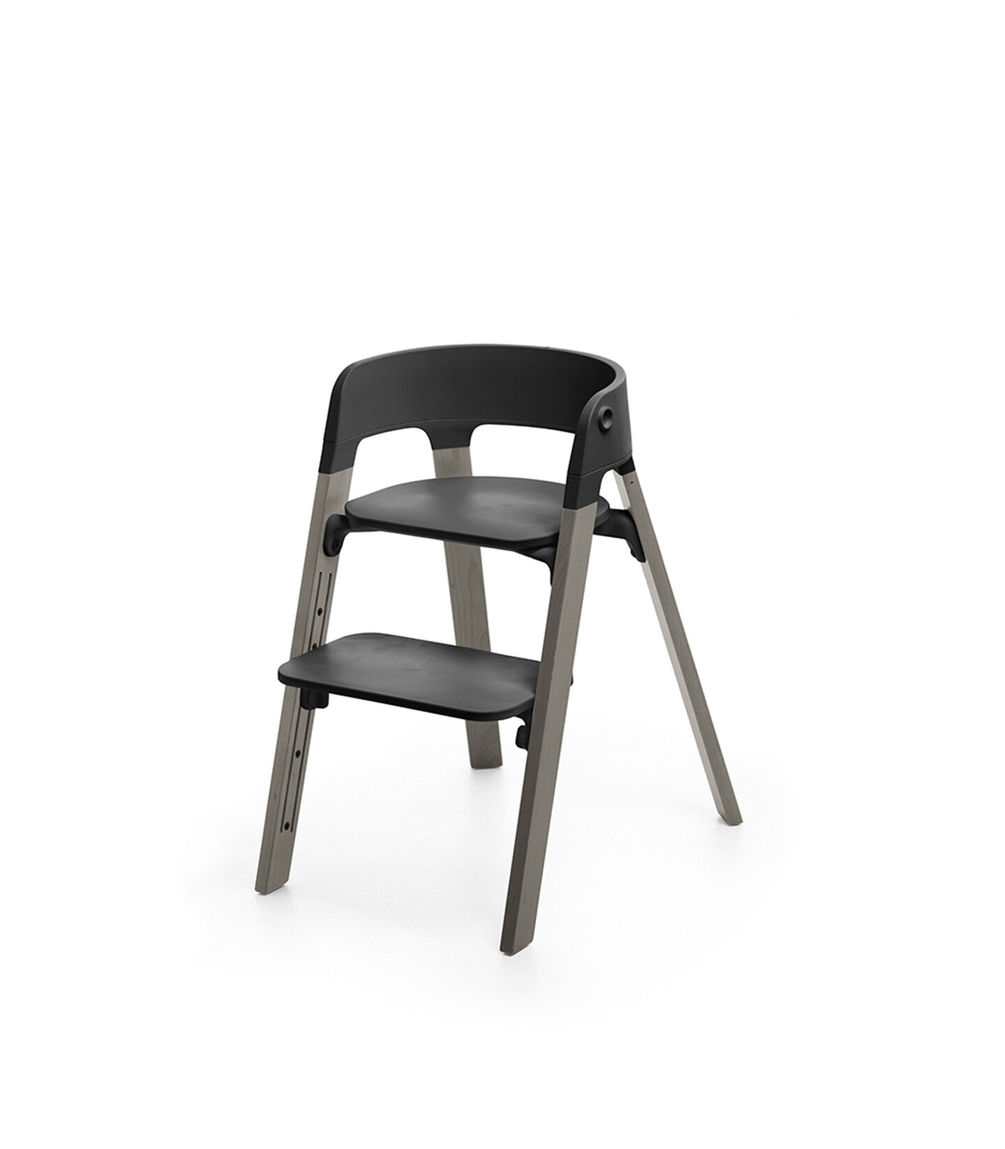 Stokke® Steps™ Chair Black Seat Hazy Grey Legs (stokke.com), Hazy Grey, mainview view 1
